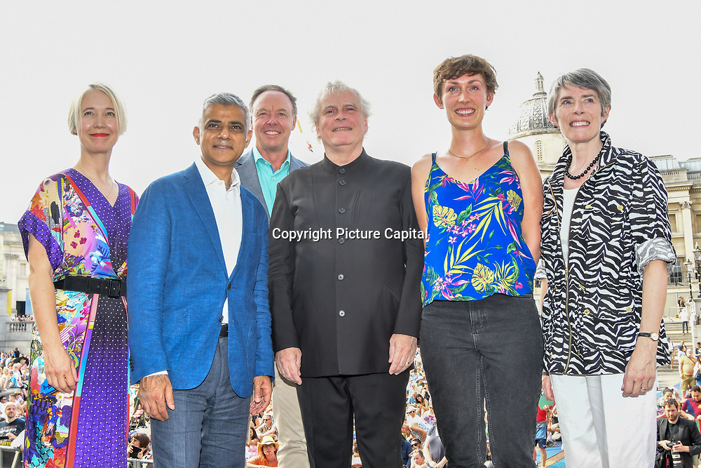 Photocall of Sadiq Khan,Sir Simon Rattle, KATE WHITLEY,Kathryn McDowell at the BMW Classics + live streamed on YouTube in Trafalgar Square on a hot weather in London, UK on July 1st 2018.
