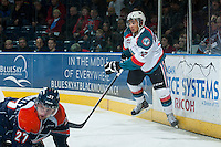 KELOWNA, CANADA - DECEMBER 17: Tyrell Goulbourne #12 of Kelowna Rockets skates against the Kamloops Blazers on December 27, 2014 at Prospera Place in Kelowna, British Columbia, Canada.  (Photo by Marissa Baecker/Shoot the Breeze)  *** Local Caption *** Tyrell Goulbourne;