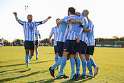 Worthing United players celebrate Jack Hayward's goal before the FA Vase 1st Qualifying Round match between Worthing United and East Preston FC at the Robert Eaton Memorial Ground, Worthing, United Kingdom on 6 September 2015. Photo by Phil Duncan.