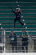 the NASCAR truck series race at Kansas Speedway in Kansas City, Kan., Friday, May 11, 2018. (AP Photo/Colin E. Braley)