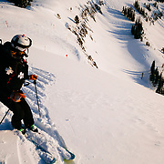 Jen Calder throwing bombs before Jackson Hole Mountain Resort opens for the day.