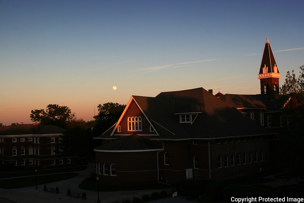 moonrise over Drake campus in late May.  photo by david petersonDes Moines, Ia.