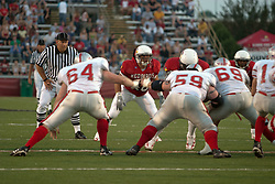 02 September 2004  Boomer Grigsby patrols the back field.    St. Xavier Cougars at Illinois State University Redbirds.  Hancock Stadium.  Normal IL