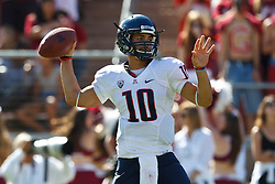 PALO ALTO, CA - OCTOBER 06: Quarterback Matt Scott #10 of the Arizona Wildcats passes the ball against the Stanford Cardinal during the third quarter at Stanford Stadium on October 6, 2012 in Palo Alto, California. The Stanford Cardinal defeated the Arizona Wildcats 54-48 in overtime. (Photo by Jason O. Watson/Getty Images) *** Local Caption *** Matt Scott