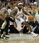 Washington Wizards guard DeShawn Stevenson (L) tries to stop Cleveland Cavaliers forward LeBron James (R) during the fourth quarter of their game at the Quicken Loans Arena in Cleveland, Ohio, USA, 19 April 2008. The Cavaliers beat the Wizards 93-86 during the first game of the Eastern Conference first round play-offs.