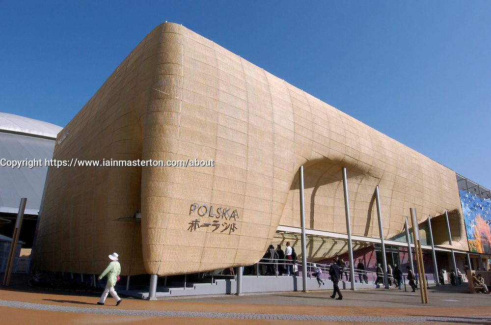 External view of reed covered modern Poland Pavilion at World Expo 2005 at Aichi in Japan