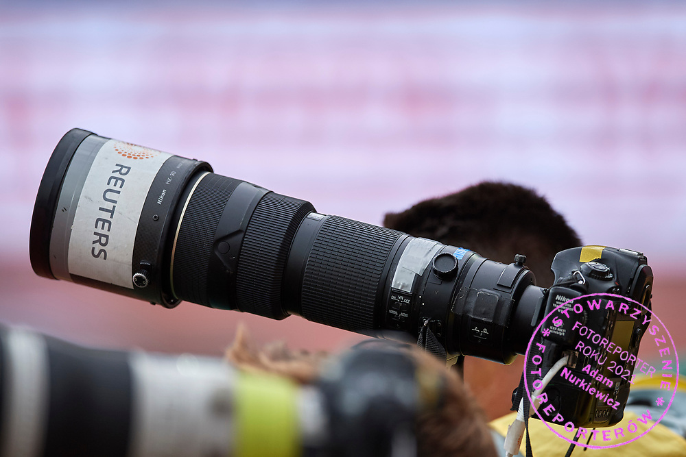 Great Britain, London - 2017 August 12: Reuters photographer Toby Melville's Nikon camera while women&rsquo;s 4x400 meters relay qualification during IAAF World Championships London 2017 Day 9 at London Stadium on August 12, 2017 in London, Great Britain.<br /> <br /> Mandatory credit:<br /> Photo by &copy; Adam Nurkiewicz<br /> <br /> Adam Nurkiewicz declares that he has no rights to the image of people at the photographs of his authorship.<br /> <br /> Picture also available in RAW (NEF) or TIFF format on special request.<br /> <br /> Any editorial, commercial or promotional use requires written permission from the author of image.