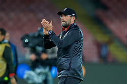 NAPLES, ITALY - Wednesday, October 3, 2018: Liverpool's manager Jürgen Klopp applauds the travelling supporters after the UEFA Champions League Group C match between S.S.C. Napoli and Liverpool FC at Stadio San Paolo. Napoli won 1-0. (Pic by David Rawcliffe/Propaganda)