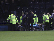 Kyle Letheren is stretchered off  - Raith Rovers v Dundee,  SPFL Championship at Starks Park<br /> <br />  - &copy; David Young - www.davidyoungphoto.co.uk - email: davidyoungphoto@gmail.com