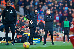 LIVERPOOL, ENGLAND - Saturday, February 24, 2018: West Ham United's manager David Moyes during the FA Premier League match between Liverpool FC and West Ham United FC at Anfield. (Pic by David Rawcliffe/Propaganda)