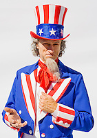 Portrait of Uncle Sam on white background...Model Release: 20080813_MR_A