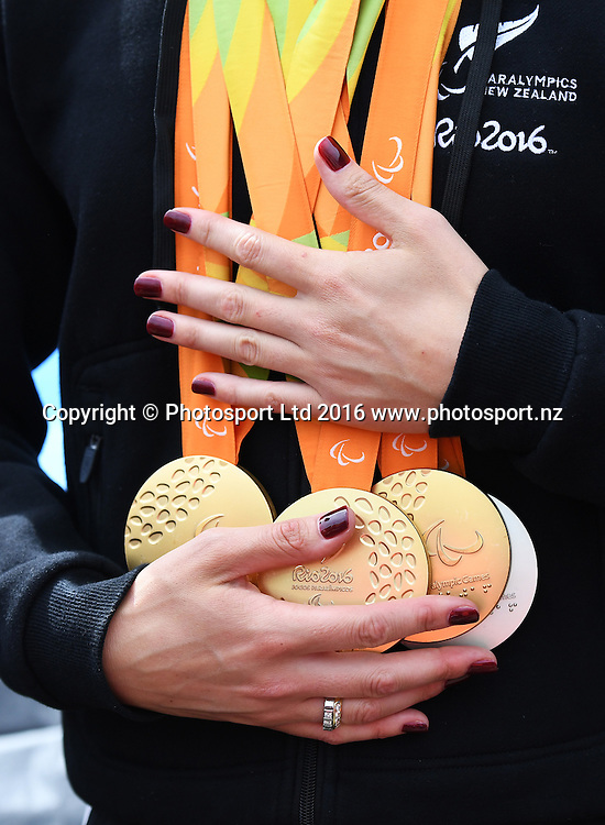 Sophie Pascoe's medals from the 2016 Rio Paralympic Games.<br /> Public Welcome Home Ceremony for the New Zealand Paralympic team at AUT Millenium, Auckland. 23 September 2016.<br /> Copyright photo: Andrew Cornaga / www.photosport.nz