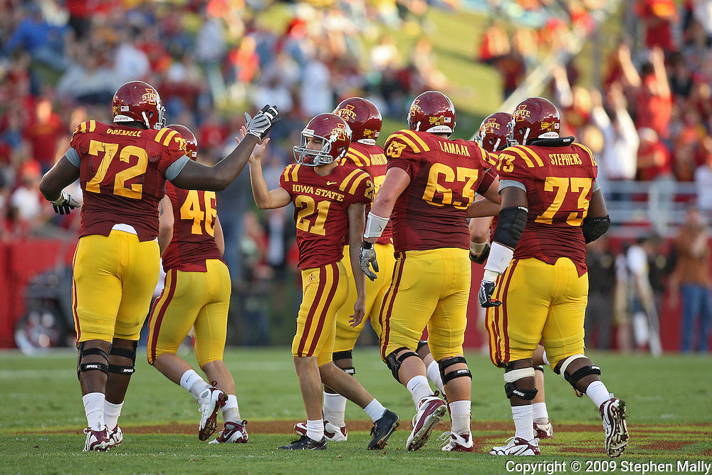 September 26, 2009: Iowa State kicker Grant Mahoney (21) is congradulated by Iowa State offensive lineman Kelechi Osemele (72) after making a 50 yard field goal during the first half of the Iowa State Cyclones' 31-10 win over the Army Black Knights at Jack Trice Stadium in Ames, Iowa on September 26, 2009.
