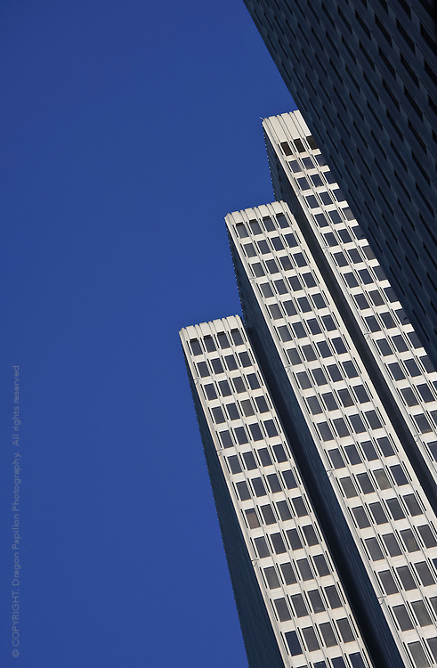colour image of skyscrapers in San Francisco, California, USA against brilliant blue sky