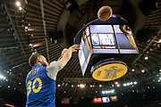 May 30, 2018; Oakland, CA, USA; Golden State Warriors guard Stephen Curry (30) shoots the basketball during NBA Finals media day at Oracle Arena.