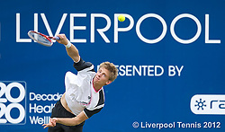 LIVERPOOL, ENGLAND - Saturday, June 23, 2012: Kevin Anderson (RSA) during the Men's Final on day three of the Medicash Liverpool International Tennis Tournament at Calderstones Park. (Pic by David Rawcliffe/Propaganda)