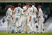 Wicket! Morne Morkel of Surrey celebrates taking the wicket of Zak Crawley of Kent during the Specsavers County Champ Div 1 match between Surrey County Cricket Club and Kent County Cricket Club at the Kia Oval, Kennington, United Kingdom on 10 July 2019.