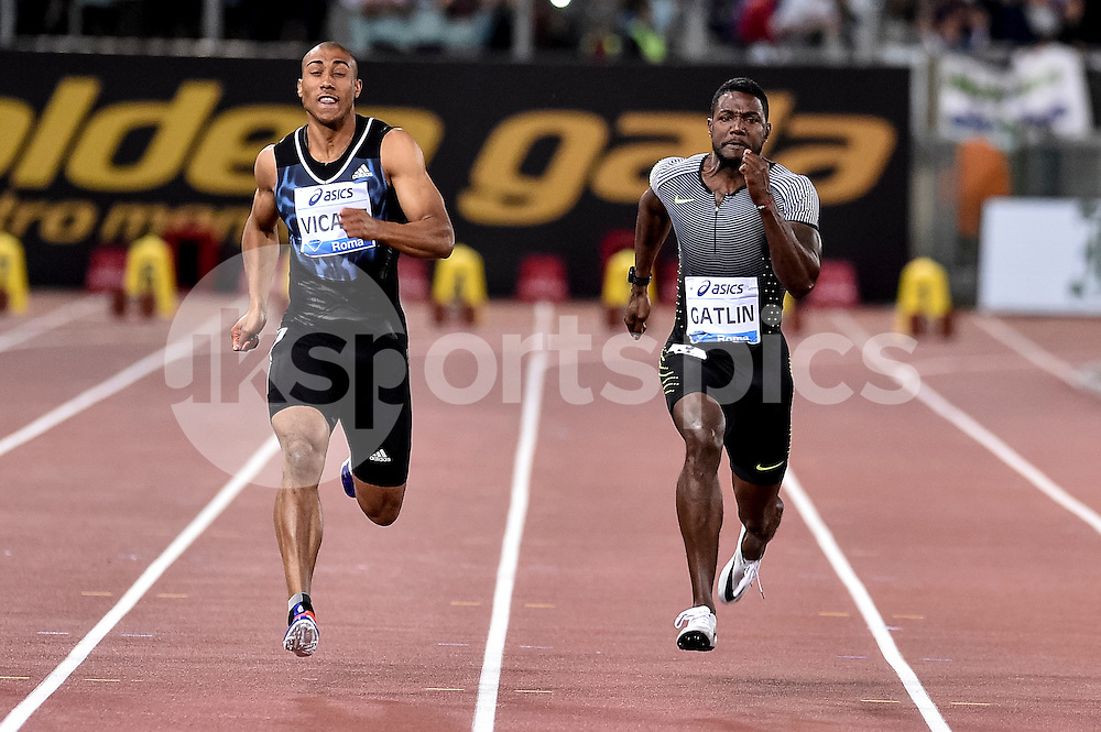 Justin Gutlin  (USA) 100 men during the IAAF Diamond League Golden Gala Pietro Mennea at Stadio Olimpico, Rome, Italy on 2 June 2016. Photo by Giuseppe Maffia.