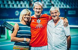 Parents of Grega Zemlja during his official retirement at Tennis tournament  ATP Challenger Zavarovalnica Sava Slovenia Open 2017, on August 11, 2017 in Sports centre, Portoroz/Portorose, Slovenia. Photo by Vid Ponikvar / Sportida