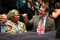 © Licensed to London News Pictures . 07/10/2015 . Manchester , UK . Delegates waiting for the Prime Minister, David Cameron's, speech. The Conservative Party Conference at the Manchester Central Convention Centre . Photo credit : Joel Goodman/LNP