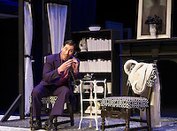 """Elwood P. Dowd (Bryan Halperin) in a scene with """"Harvey"""" during dress rehearsal at the Winnipesaukee Playhouse Tuesday evening.   (Karen Bobotas/for the Laconia Daily Sun)"""