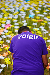 © Licensed to London News Pictures.  08/06/2013. LONDON, UK. Volunteers and members of the public help create the Big IF installation in Hyde Park. Consisting of paper flowers each petal is meant to represent the millions of children who die each year from malnutrition. A number of charities have combined to hold a rally demanding that G8 leaders take action to tackle global hunger.  Photo credit: Cliff Hide/LNP