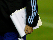 A close crop of the notepad of Argentina manager Alejandro Sabella as he carries it during the Argentina training session at the Est&aacute;dio S&atilde;o Janu&aacute;rio, Rio de Janeiro, ahead of tomorrow's World Cup Final.<br /> Picture by Andrew Tobin/Focus Images Ltd +44 7710 761829<br /> 12/07/2014