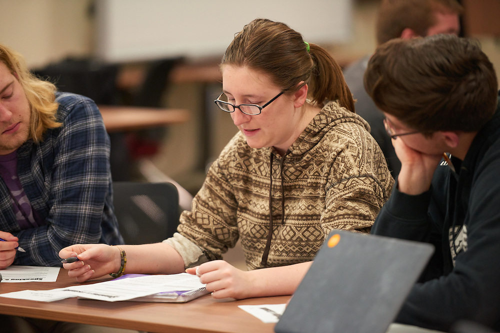 Activity; Speaking; Studying; Talking; Buildings; Murphy Library; Location; Inside; Classroom; Spring; April; People; Student Students; Woman Women
