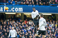 Romelu Lukaku of Everton with a header during the Barclays Premier League match between Chelsea and Everton at Stamford Bridge, London, England on 16 January 2016. Photo by Salvio Calabrese.