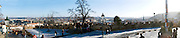 Prague, Czech Republic. Panoramic view from eastern end of Prague Castle after snow.