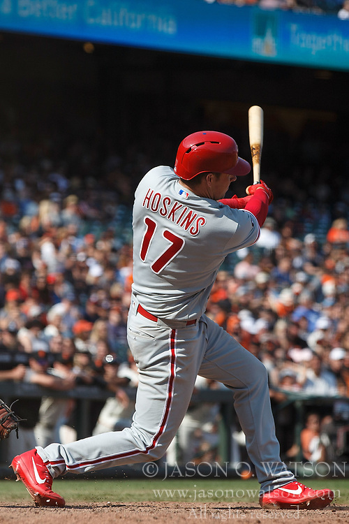 SAN FRANCISCO, CA - AUGUST 20: Rhys Hoskins #17 of the Philadelphia Phillies hits a home run against the San Francisco Giants during the ninth inning at AT&T Park on August 20, 2017 in San Francisco, California. The Philadelphia Phillies defeated the San Francisco Giants 5-2. (Photo by Jason O. Watson/Getty Images) *** Local Caption *** Rhys Hoskins