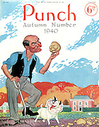 Punch - Autumn Number - 25 September 1940..Cover showing Mr Punch lifting potatos in his country estate pondering in the style of Hamlet..Cartoon by Punch..