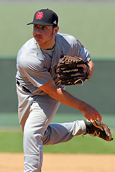 17 April 2016:  Relief pitcher Zack Hamaker during an NCAA division 3 College Conference of Illinois and Wisconsin (CCIW) Pay in Baseball game during the Conference Championship series between the North Central Cardinals and the Illinois Wesleyan Titans at Jack Horenberger Stadium, Bloomington IL