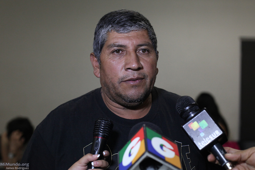 Artemio Humberto Castillo, 48, from San Rafael Las Flores, declares to the press at the Public Prosecutors Office to denounce the shooting perpetrated against him and five others by the Escobal Project's security personnel. The six men were walking towards a peaceful protest camp rejecting the mining project on Saturday, April 27, when head security chief Alberto Rotondo, a Chilean citizen, order the shooting. Rotondo was later captured at the Aurora Airport attempting to escape the arrest order issued against him. Meanwhile, the official signing between the Guatemalan Government and Tahoe Resources & Goldcorp's El Escobal Silver mine went ahead as scheduled on April 29th. Guatemala City, Guatemala. April 29, 2013.
