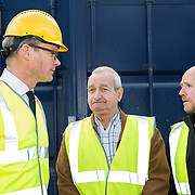 24.04.2017.       <br /> Minister for Housing Simon Coveney visiting the Lord Edward Street site in Limerick, where 81 units for social housing are nearing completion as part of the Limerick Regeneration programme.  57 of which are elderly units (1 and 2 bed apts and 2 bed houses) with the remainder (24) being family homes (3 bed). <br /> <br /> Pictured at the event were, Minister for Housing Simon Coveney with Fisherman Quay residents, Andy Mowat and Alan McCarthy. Picture: Alan Place.