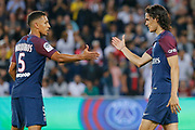 Edinson Roberto Paulo Cavani Gomez (psg) (El Matador) (El Botija) (Florestan) scored a goal and celebrated it with Marcos Aoas Correa dit Marquinhos (PSG) during the French championship L1 football match between Paris Saint-Germain (PSG) and Saint-Etienne (ASSE), on August 25, 2017 at Parc des Princes, Paris, France - Photo Stéphane Allaman / ProSportsImages / DPPI