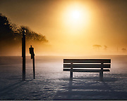Golden Light Bench in the Snow - Timberpoint Country Club in Great River