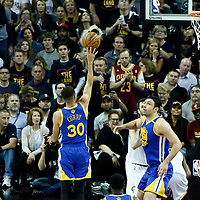 07 June 2017: Golden State Warriors guard Stephen Curry (30) goes for the floater shot during the Golden State Warriors 118-113 victory over the Cleveland Cavaliers, in game 3 of the 2017 NBA Finals, at  the Quicken Loans Arena, Cleveland, Ohio, USA.