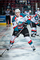 KELOWNA, CANADA - APRIL 14: Kaeden Korczak #6 of the Kelowna Rockets warms up with the puck against the Portland Winterhawks on April 14, 2017 at Prospera Place in Kelowna, British Columbia, Canada.  (Photo by Marissa Baecker/Shoot the Breeze)  *** Local Caption ***