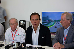 November 17, 2019, Sao Paulo, Sao Paulo, Brazil: Governor JOAO DORIA (center) talks to the press during the Formula One Grand Prix of Brazil 2019 at Interlagos circuit, in Sao Paulo, Brazil, on Sunday, November 17. (Credit Image: © Paulo Lopes/ZUMA Wire)