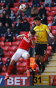 Charlton Athletic defender Patrick Bauer (5) and Middlesbrough FC defender George Friend jump for a header during the Sky Bet Championship match between Charlton Athletic and Middlesbrough at The Valley, London, England on 13 March 2016. Photo by Andy Walter.