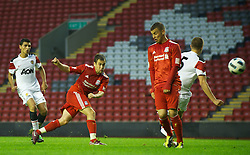 LIVERPOOL, ENGLAND - Thursday, May 5, 2011: Liverpool's Joe Cole scores the second goal against Manchester United during the FA Premiership Reserves League (Northern Division) match at Anfield. (Photo by David Rawcliffe/Propaganda)