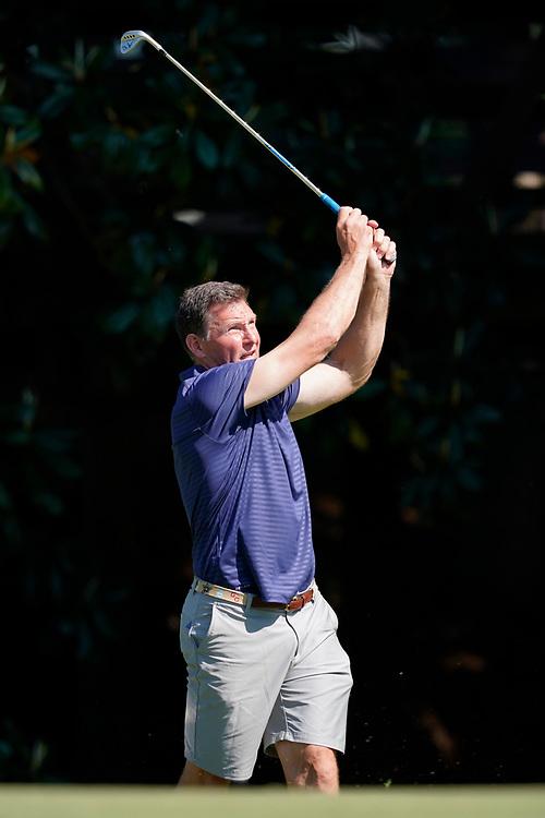 Former Ole Miss tight end Wesley Walls tees off during the Chick-fil-A Peach Bowl Challenge at the Ritz Carlton Reynolds, Lake Oconee, on Tuesday, April 30, 2019, in Greensboro, GA. (Paul Abell via Abell Images for Chick-fil-A Peach Bowl Challenge)