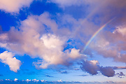 Clouds and double rainbow over the Pacific Ocean, Island of Kauai, Hawaii