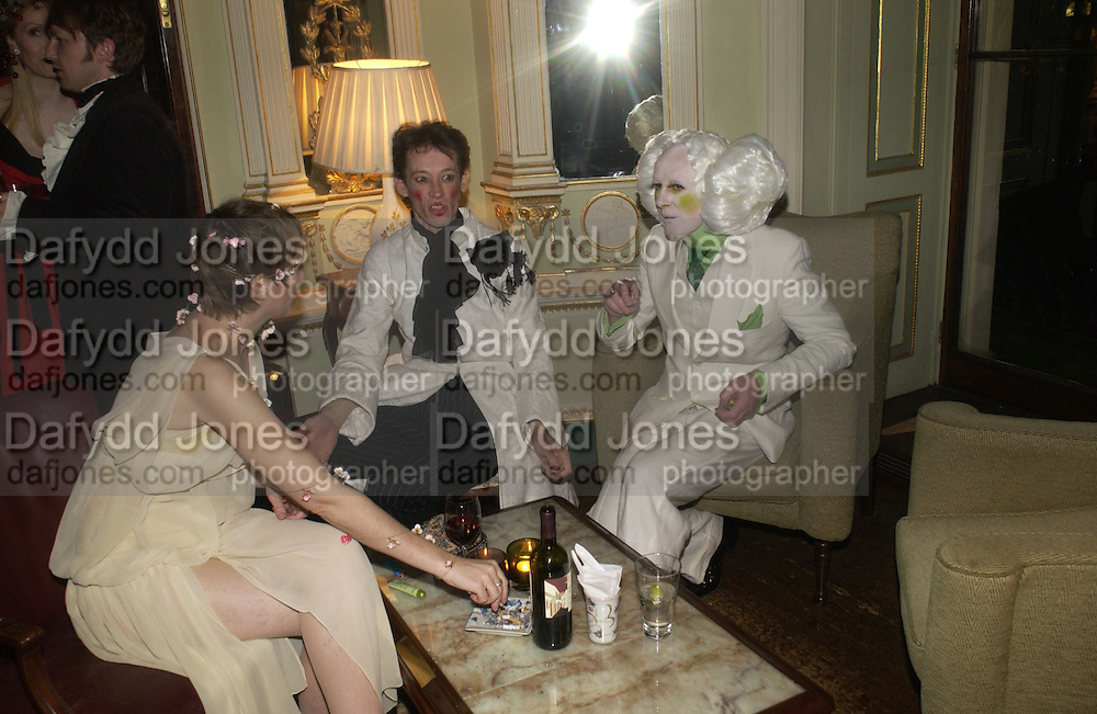 Lorna Robinson, Paul Abraham and Paul Neesham. Philip Sallon and Bruce Fielding Joint birthday party. Home House. London. 12  November 2005 . ONE TIME USE ONLY - DO NOT ARCHIVE © Copyright Photograph by Dafydd Jones 66 Stockwell Park Rd. London SW9 0DA Tel 020 7733 0108 www.dafjones.com