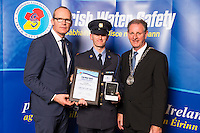 Dublin - Ireland, Tuesday 8th November 2016:<br /> Simon Coveney TD, Minister for Housing, Planning & Local Government with 'Seiko Just In Time Award' recipient Garda Jarlath Duffy (Wexford) and Martin O'Sullivan, Chairman of Irish Water Safety at the annual Irish Water Safety Awards held at Dublin Castle.  Photograph: David Branigan/Oceansport