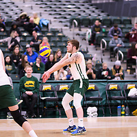 4th year outside hitter Brennan Goski (13) of the Regina Cougars in action during Men's Volleyball home game on November 18 at Centre for Kinesiology, Health and Sport. Credit: Arthur Ward/Arthur Images
