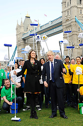 P&G Capital Clean Up, Boris Johnson and Keeley Hawes announce details of a new campaign to clean up the capital ahead of the summer Olympics. A series of events take place from March to June, sponsored by Proctor & Gamble brands Flash, Ariel and Febreze, Thursday March 8, 2012. Photo by i-Images