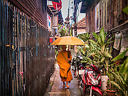 28 SEPTEMBER 2015 - BANGKOK, THAILAND: Buddhist monks walk past an abandoned and condemned home near Wat Kalayanamit. Fifty-four homes around Wat Kalayanamit, a historic Buddhist temple on the Chao Phraya River in the Thonburi section of Bangkok, are being razed and the residents evicted to make way for new development at the temple. The abbot of the temple said he was evicting the residents, who have lived on the temple grounds for generations, because their homes are unsafe and because he wants to improve the temple grounds. The evictions are a part of a Bangkok trend, especially along the Chao Phraya River and BTS light rail lines. Low income people are being evicted from their long time homes to make way for urban renewal.    PHOTO BY JACK KURTZ