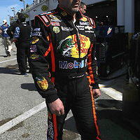 NASCAR Sprint Cup driver Tony Stewart  is seen in the garage area, during a NASCAR Daytona 500 practice session at Daytona International Speedway on Wednesday, February 20, 2013 in Daytona Beach, Florida.  (AP Photo/Alex Menendez)